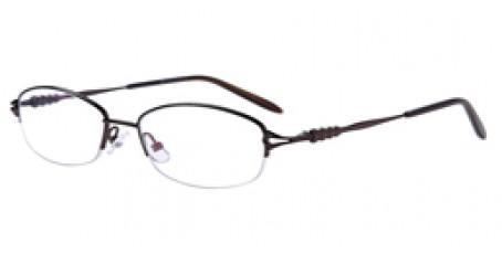 Halbrandbrille aus Metall in Braun