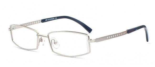 Graue Metallbrille mit Vollrand - Eckige Gläser