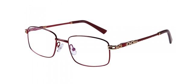 Rote Gleitsichtvollrandbrille aus Metall