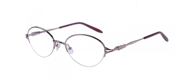 Pinke Gleisicht-Halbrandbrille aus Metall