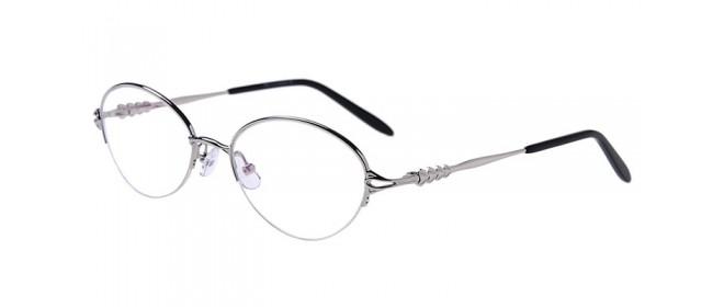 Silberne Gleisicht-Halbrandbrille aus Metall