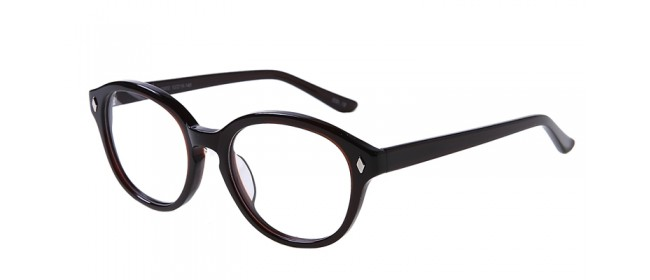Runde Vollrand-Gleitsichbrille aus Kunststoff in Schwarz-Rot