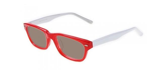 Rot-weiße Sonnenbrille mit weißen Bügeln