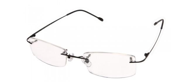 Randlose Brille mit schwarzen Brillenbügeln