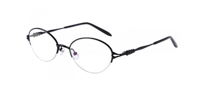 Schwarze Halbrandbrille aus Metall mit Federscharnier
