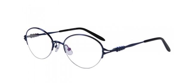 Blaue Halbrandbrille aus Metall mit Federscharnier