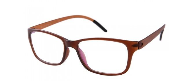 Nerd-Vollrandbrille in braun-weiß