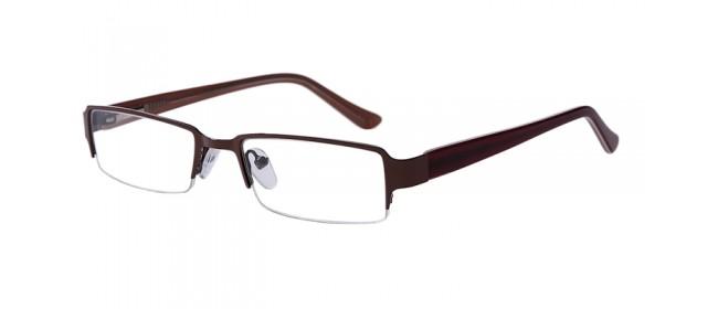 Braune eckige Halbrandbrille aus Metall