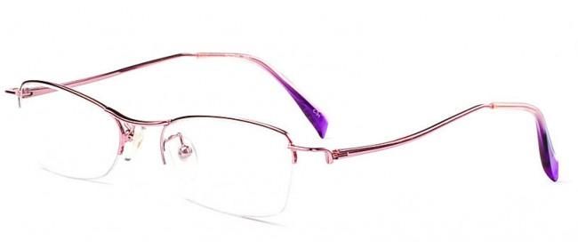 Halbrandbrille in Pink -geschwungene Bügel