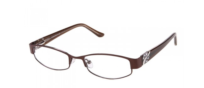 Braune Damen Vollrandbrille mit Strasssteinen