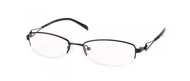 Schwarze Halbrandbrille - detailreiche Bügel