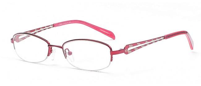 Schmale Halbrandbrille in Rot