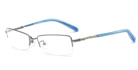 Gleitsichtbrille aus Metall in einer Farbkombination aus Blau & Grau