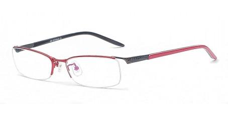 Trendige Damen-Halbrandbrille in Rot & Schwarz