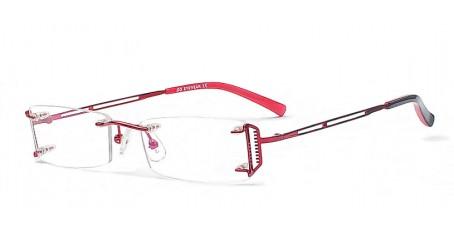 Randlose Brille mit roten markanten Brillenbügeln