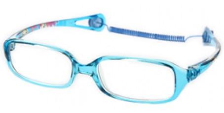 Blaue Kinderbrille mit Kindermotiven an den Bügeln