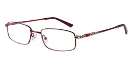 Rote und goldene Vollrandbrille aus Metall
