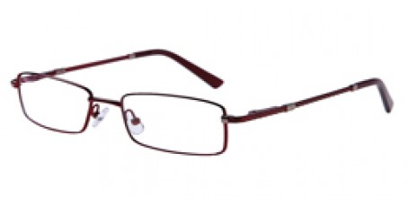 Dunkelrote Vollrandbrille aus Metall