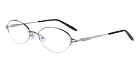 Silberne Halbrandbrille aus Metall mit Federscharnier