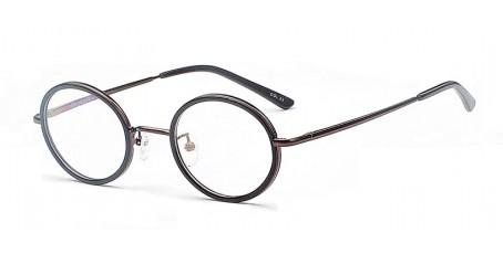 Braune Gleitsicht-Pantobrille - Brille mit breiten runden Gläsern
