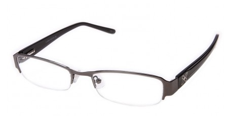 Graue Damen Halbrandbrille - Blumen Dekor