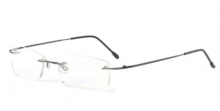 Randlose Brille-eckige Gläser-schmale graue Bügel
