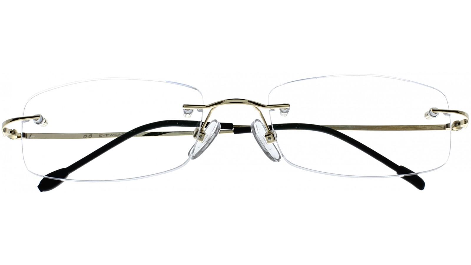 c0a7236940c48f Randlose Brille - Eckige Gläser – Schmale goldene Bügel