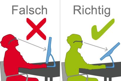 Infografik: Eine Gleitsichtbrille ist für die PC-Arbeit nicht geeignet