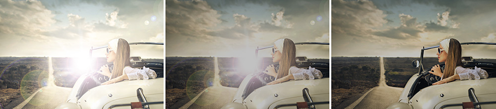 Vergleichsgrafik: Die Sicht mit und ohne polarisierenden Brillengläsern