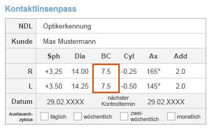 BC-Wert auf Kontaktlinsenpass 2