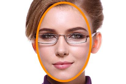 Ovales Gesicht mit Brille