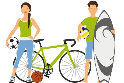 Frau und Mann mit Sportgeräten